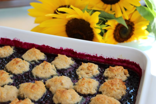 Vegan, Gluten-free Blueberry Cobbler from www.exquisitedish.com